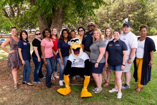 Staff Council with GUS at the 2019 picnic in Statesboro